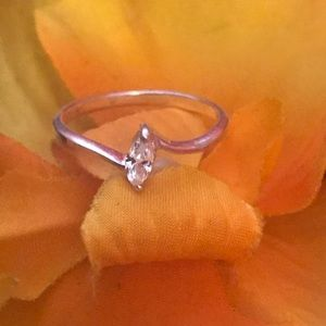 Stamped Sterling Silver & Cubic Zirconia Ring